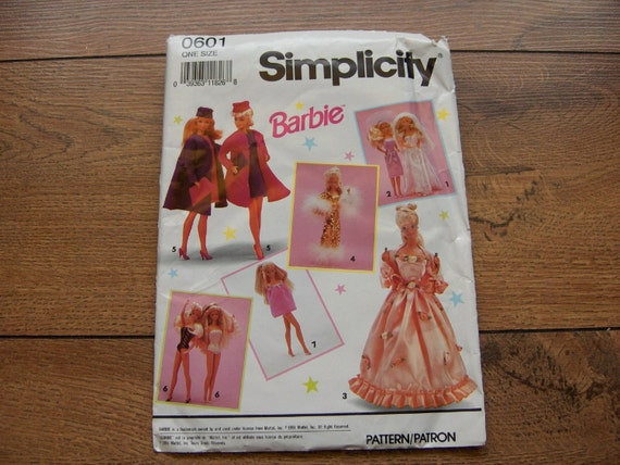 1991 simplicity sewing pattern 0601 Barbie Fashion Doll Clothes