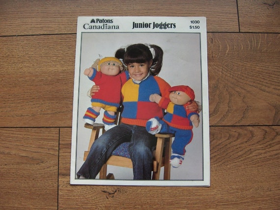 Vintage 1984 Knitting pattern Cabbage Patch Doll Clothes - Junior Joggers
