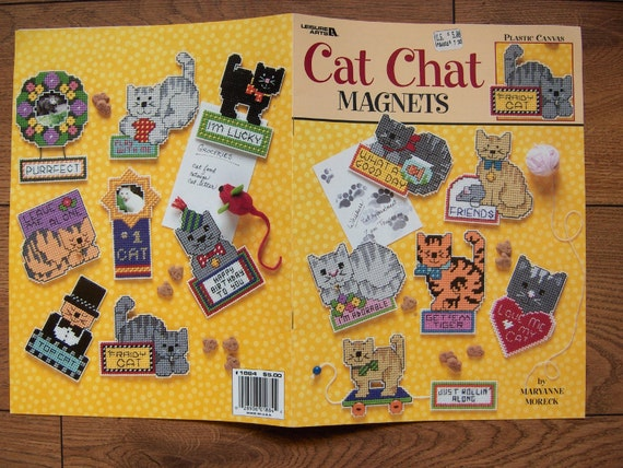 2000 Plastic Canvas Pattern Cat Chat Magnets By Granstreasures