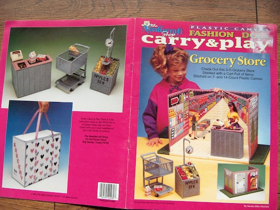 1993 Plastic Canvas pattern Fashion Doll Carry and Play GROCERY STORE