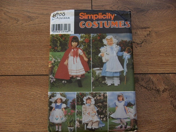 1999 Simplicity pattern 8796 Toddlers FAIRYTALE COSTUMES Red Riding Hood, Bo Peep, Miss Muffet, Alice , Mistress Mary  sz 1/2,1,2,3,4 uncut