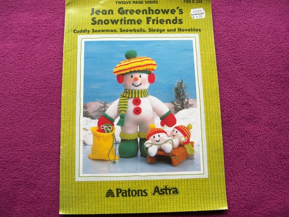 1994 Jean GREENHOWE knitting pattern SNOWTIME FRIENDS