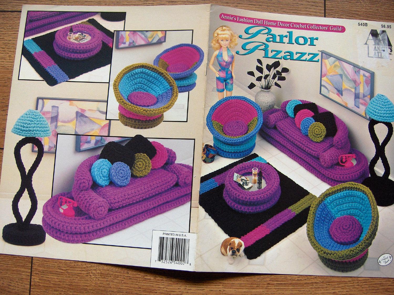 1994 Crochet Pattern Fashion Doll Barbie Furniture Parlor