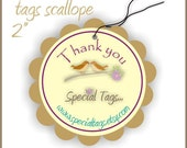 100 Custom Hang Tags - 2inch circle with scalloped edges - Personalized
