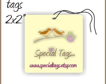 200 Custom Hang Tags - 2x2inch - Personalized
