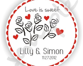 Personalized Circle Stickers - Set fo 10 sheets - Thank You - Love - Envelope Seal - Bridal Shower - Address Labels - Flower Labels