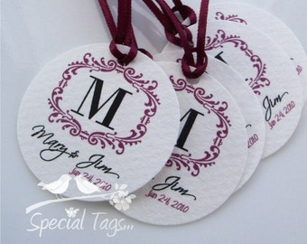 Personalized 1.75inch Circle Tags - 120 tags - Thank You - Love - Weddings - Bachelorette Party -Bridal Shower - Personalized
