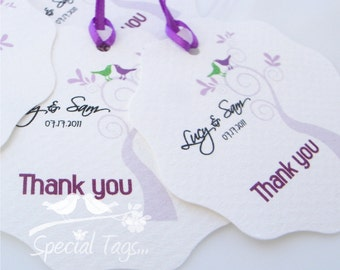 Set of 120 Favor Tags - Personalized 2.25inch Circle Tags with Wavy Edges - Monogram Favor Tags - Wedding Tags - Bridal Shower Tags