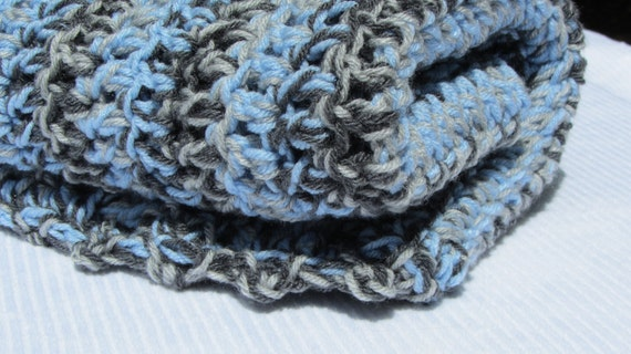 baby blanket blue gray  -Ready to ship-