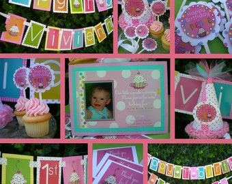 Girly Cupcake Birthday Party Decorations Fully Assembled