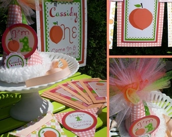 Peach Birthday Party Decorations Fully Assembled