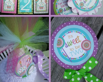 Sweets and Treats Birthday Party Decorations Pink Purple Green Aqua Fully Assembled