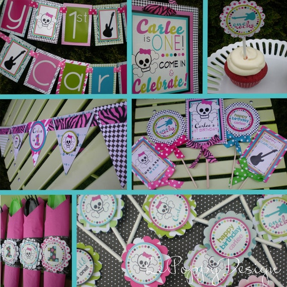 """Skulls and Guitars Birthday Party Decorations """"Birthdays ROCK!"""" Fully Assembled"""