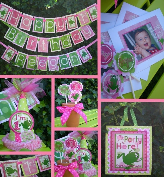 Frog Birthday Party Decorations Pink Green Fully Assembled