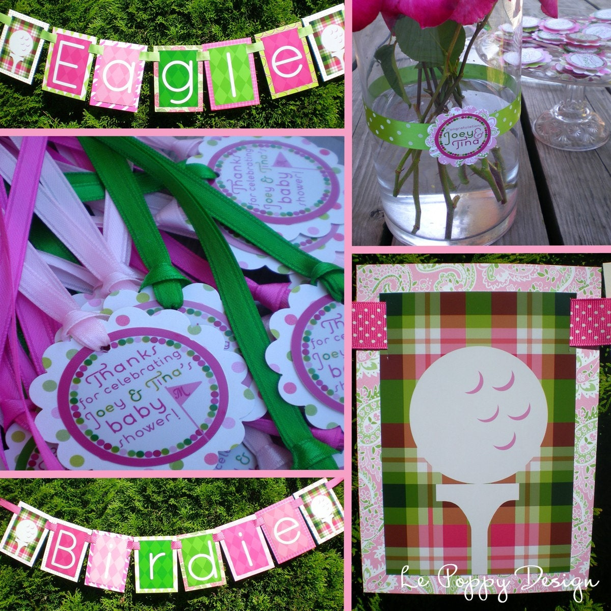 Golf Birthday Party Decorations Pink Green Fully Assembled