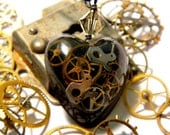 RESERVED FOR dannirebbettes Heart Shaped Steampunk Watch Part Pendant with Purple Glitter