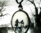 Creepy Gothic Black and White Holding Hands Nature Path Walking Love Pendant