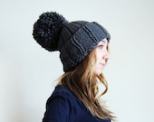 Massive Pom Pom Hat in Dark Grey