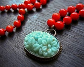 Tasty Turquoise Vintage Japanese Oval Glass Pendant on Red Coral Beads