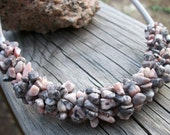 Pink Lady Jasper Gemstone Chip Silk Cord Necklace - Great Bridal Party Gifts - allstrungout1