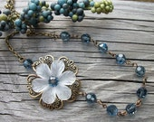 Stella - Vintage Swarovski Denim Crystal Necklace - Antique Brass - Bride or Bridal Party Gifts
