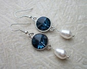 Haven's Bling - Swarovksi Montana Blue Crystal Rivolis & White Teardrop Pearl Earrings - Bride, Prom, Graduation, Bridal Party - allstrungout1