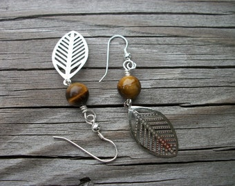 Tiger Eye Silver Fern Earrings
