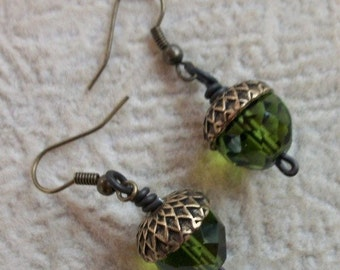 Squirrels Delight Olive Acorn Earrings