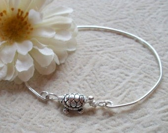 Sterling Silver Turtle Bangle Bracelet