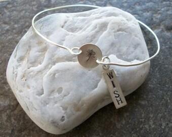 Dandelion Wishes - Sterling Silver Bangle Bracelet