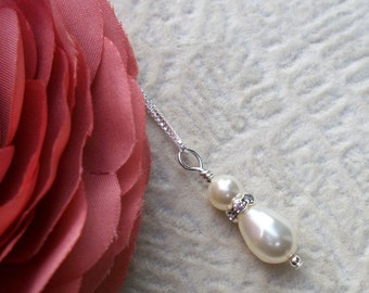 Pearl And Rhinestone Bridal Set - Necklace and Earrings - Sterling Silver - Bride or Bridal Party Gifts