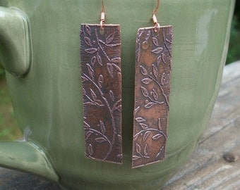 Copper Etched Leaf Earrings - Included In The MTV Movie Awards Talent Gifting Suite Gift Bags