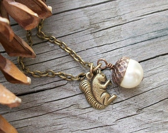 Nuts About You - Antique Brass Squirrel With White Swarovski Pearl Acorn Necklace