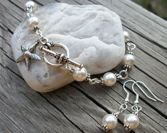 Starfish and Pearls Bracelet and Earrings Set - Beach Or Island Destination Wedding - Perfect For Bride Or Bridal Party