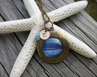 Precious Memories -  Antique Brass Locket - Your Favorite Memory Behind Glass, Stamped Initial, & A Touch Of Bling