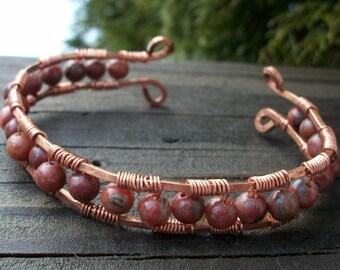 Red Sesame Jasper Copper Wrapped Cuff Bracelet