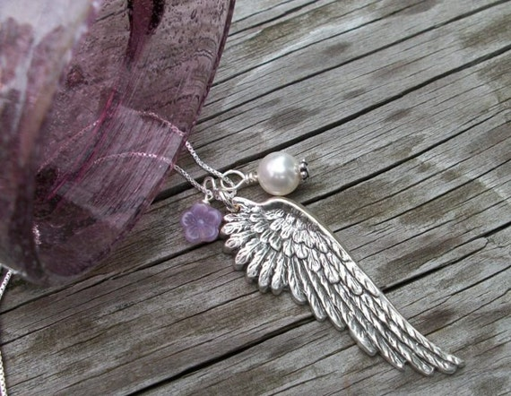 Guardian Angels Gift - Silver Wing Necklace