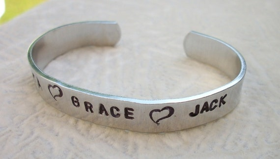 Mom's Pride And Joy - Hand Stamped 3/8 Inch Aluminum Cuff Bracelet