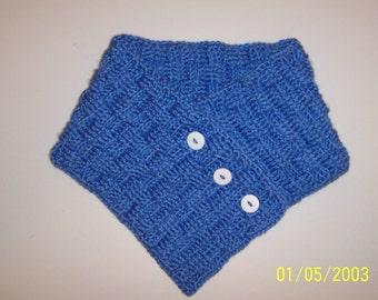 Berry Blue Basket Weave Button Crochet Neck Warmer