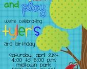 slide, swing and play Playground Birthday Invitation