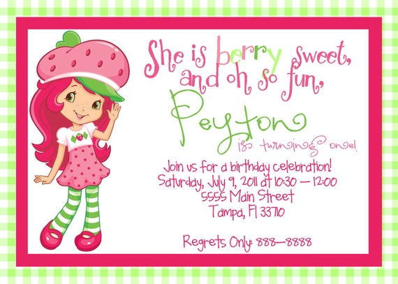 Printable Strawberry Shortcake Birthday Invitations
