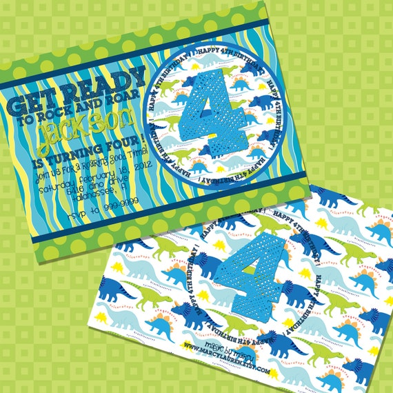 DIY Printable Doublesided Dinosaur Birthday Invitations