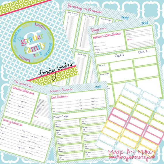 Items Similar To Organizational Family Binder Printables