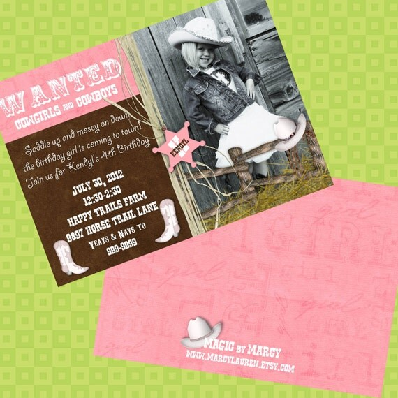 Doublesided Cowgirl  Birthday Invitation