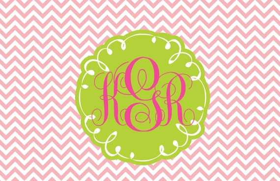 Preppy Pink chevron Monogrammed Toddler placemat perfect for food or play