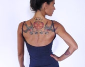 Simple yoga tank with low back . Yoga clothes - dance - fitness wear. Midnight blue, warm charcoal, petrol blue and Black. Size SM and ML