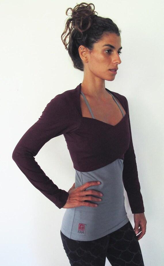 ON SALE 50%! Multi tie wrap around bolero top. Yoga clothes - dance wear - fitness. Burgundy Sizes M
