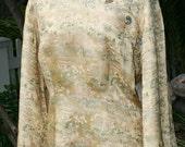 Fortune Cookie - Silk Asian Tunic  - Antique Cloisine Buttons - Bell Sleeve - Golden