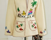 La Tourista - Circa 1940's to 50s - Old Mexico - Rockabilly - Wool Embroidered Jacket - by Lopez