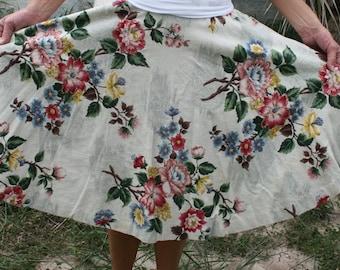 Vintage Barkcloth Skirt - Retro Chic Glitter Embellished Circle Skirt - Rockabilly Retro Cottage Chic - Bark Cloth Skirt - MCM - 27 Waist